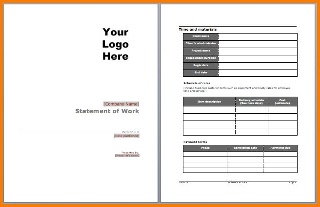 4 statement of work template | Receipt Templates