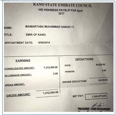 Sanusi Lamido shares pay slip photo to debunk N12M monthly salary ...