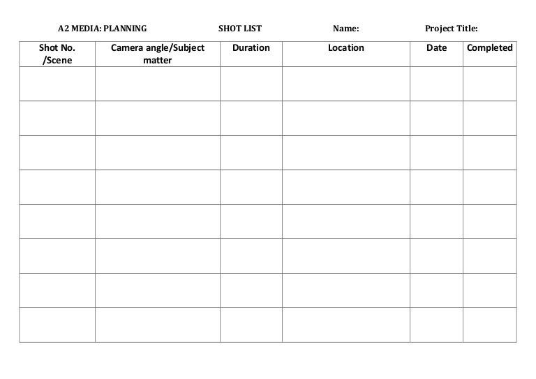 Shot List Template. Simple Camera Shot List - Advanced Xls, Pdf ...