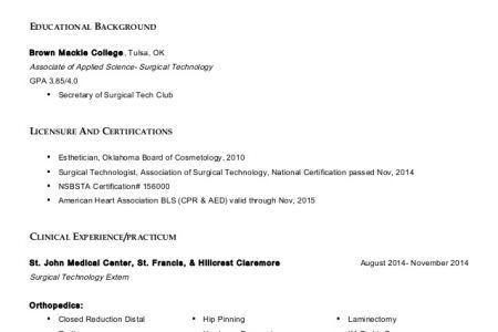 Surgical Tech Resume Sample, Examples Tech Cover Letter Tech Cover ...