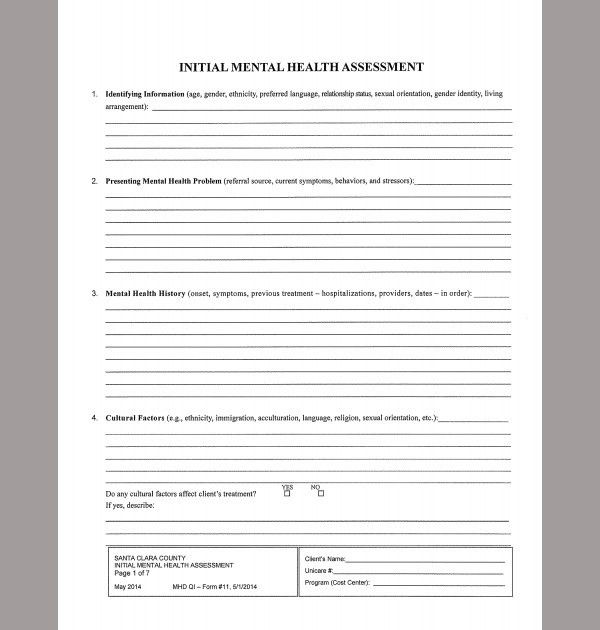 Health Assessment Template. Aimhi Mental Health Assessment Form ...