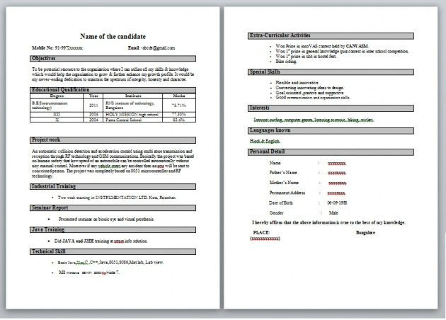 Best Resume Format For Freshers – Resume Examples