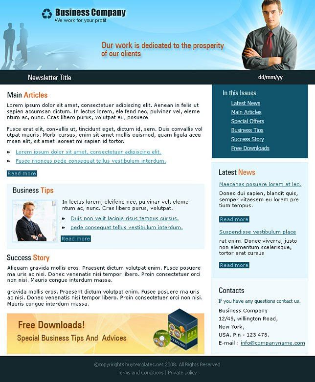 Affordable business newsletter templates download