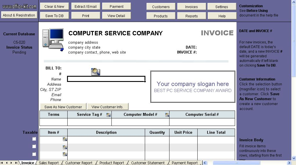Computer Service Invoice Template - Uniform Invoice Software