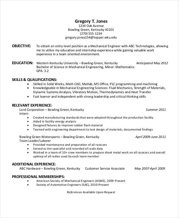 American Format Resume. Engineering Internship Resume Pdf Free ...