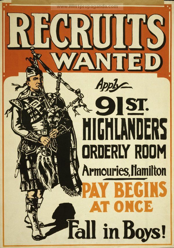 Examples of Propaganda from WW1 | Recruits wanted ... fall in boys!.