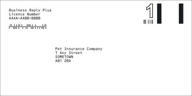Royal Mail Business Reply Plus First Class envelope example
