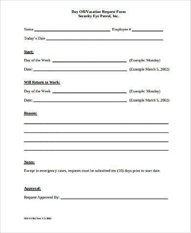 Sample Request Off Forms - 9+ Free Documents in Word, PDF