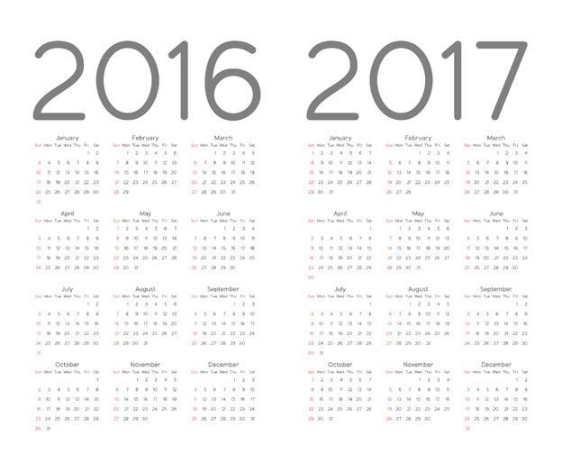 2016 Calendar Template Vector Free Download - Vecto2000.com