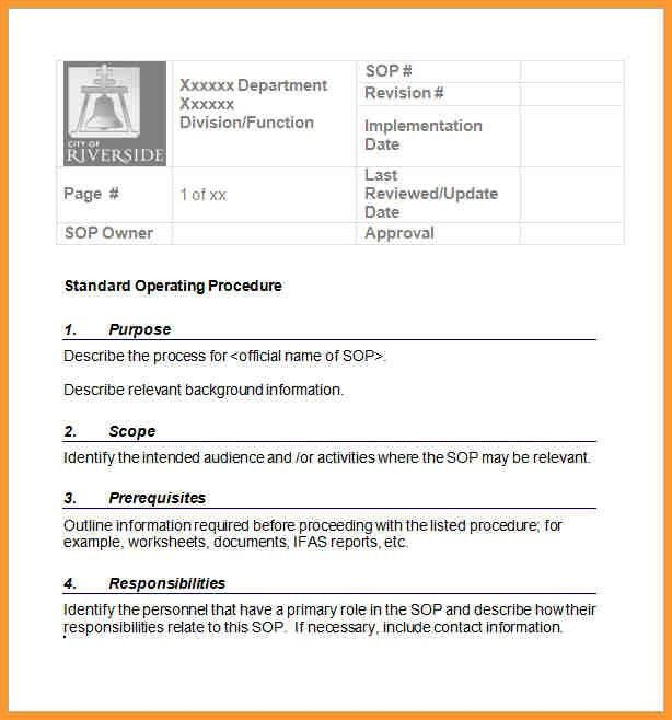 STANDARD OPERATING PROCEDURE SAMPLES | letter format mail