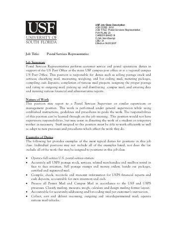Job Title: Customer Service Representative SUMMARY: Work ...