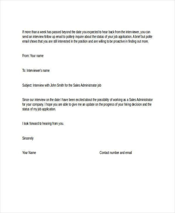 Follow Up Email Template. Email Submitting Resumes | Template ...