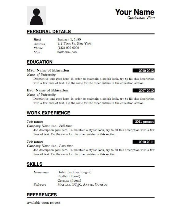 simple resume template download free resume templates d theme the ...