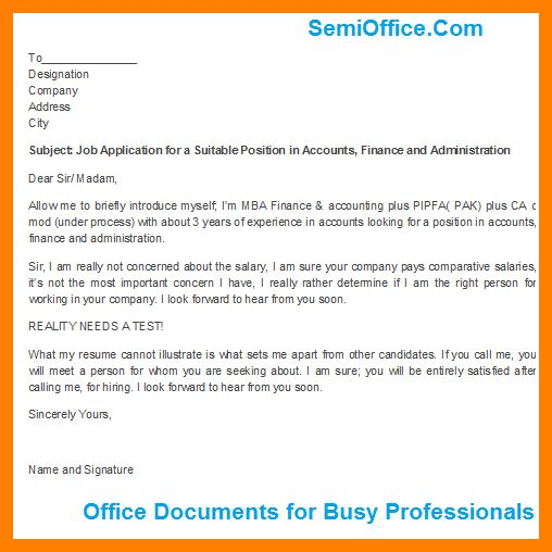 8+ job application format | addressing letter