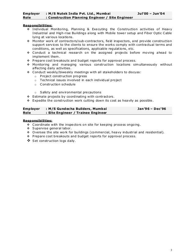 Pankaj Resume - Construction Project Manager