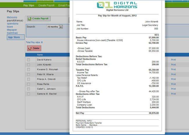 payslip template payroll