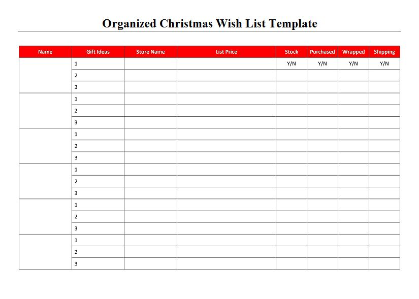 Organized Christmas Wish List Template - Project Management Excel ...