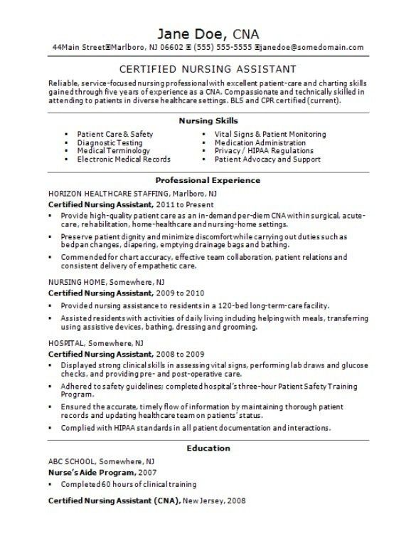Resume For Cna Examples. Best Certified Nursing Assistant Resume ...