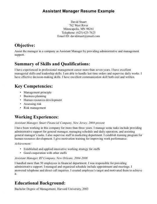 The Elegant Assistant Manager Resume Sample | Resume Format Web