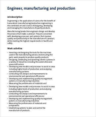 Manufacturing Engineer Job Description Sample - 9+ Examples in ...