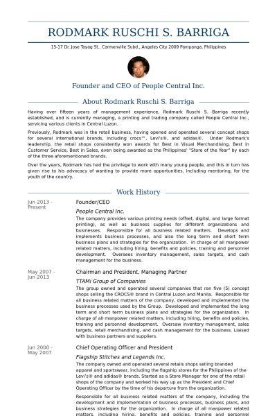 Founder / Ceo Resume samples - VisualCV resume samples database