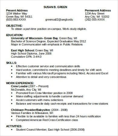 Simple Job Resume Template. Doc612792 Simple Job Resume Template ...