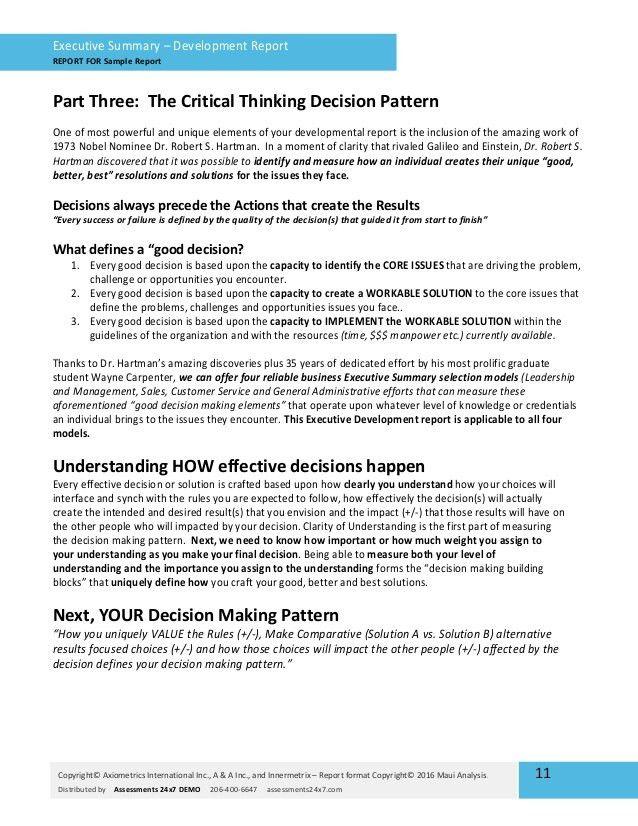 Executive Summary Development Assessment