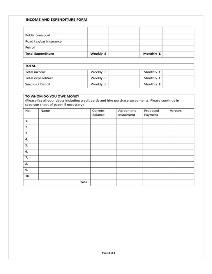 Best Income And Expenditure Form Template Contemporary - Best ...