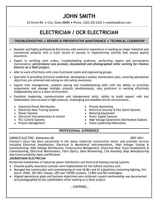 Electrician Resume Examples