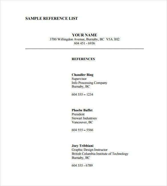 Sample Reference List. Reference List For Resume Format Resume ...