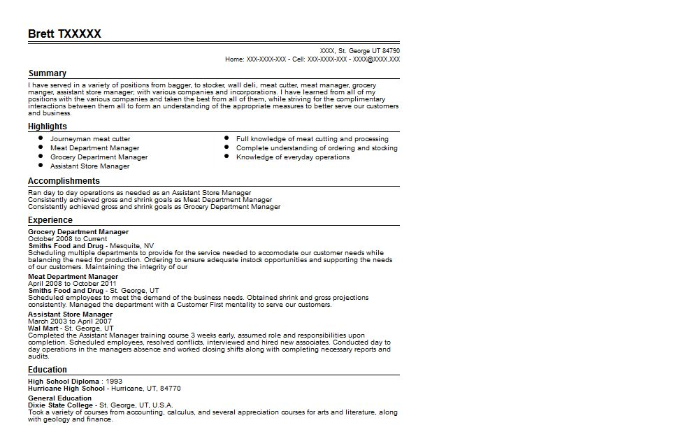 Grocery Department Manager Resume Sample | Quintessential LiveCareer