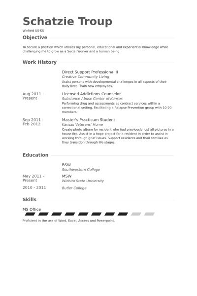 Direct Support Professional Resume samples - VisualCV resume ...