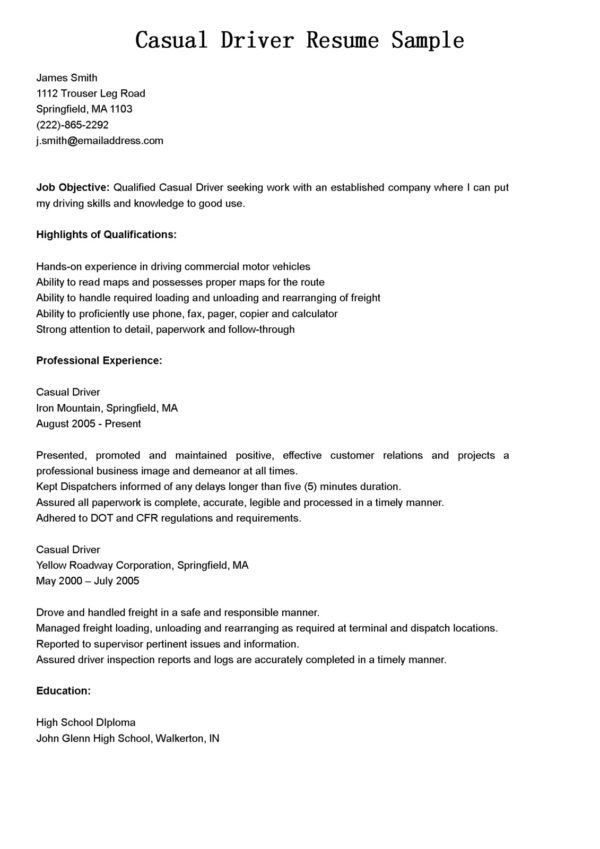 Professional Experience for Casual Delivery Driver Resume Sample ...