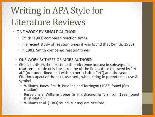 literary review apa format