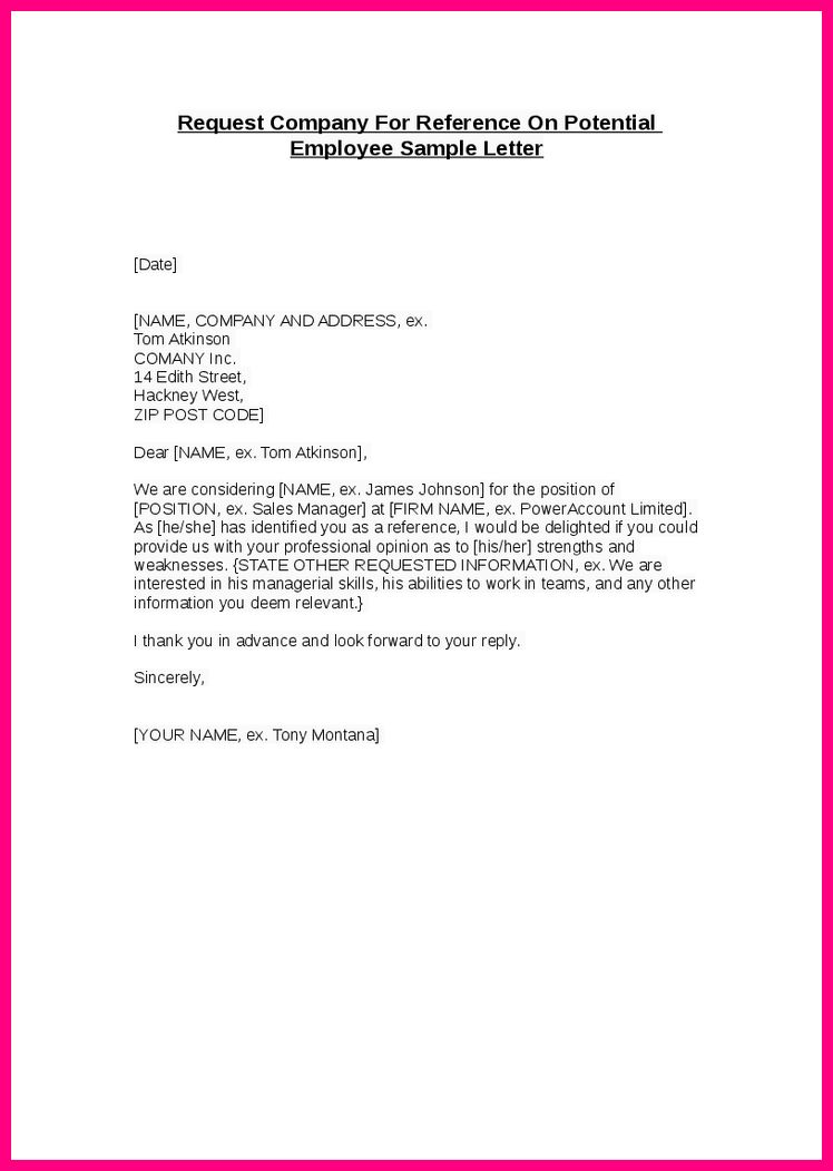 Reference Letter Employment Sample - Cover Letter Templates