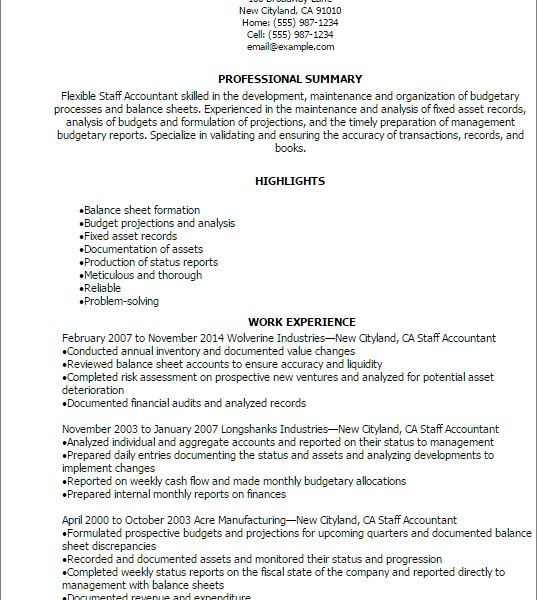 Winsome Inspiration Staff Accountant Resume 9 Professional Staff ...