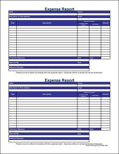 Free Small Simple Contractor Expense Report from Formville