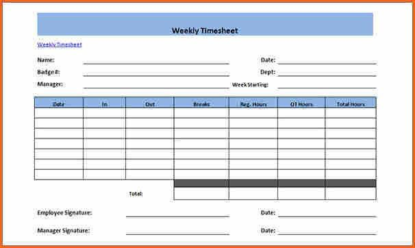 6+ Weekly Timesheet Sample   Budget Template Letter