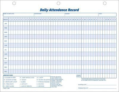 "Adams® Daily Attendance Records, 11"" x 8-1/2"" 