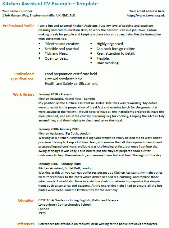 Kitchen Assistant CV Example | icover.org.uk