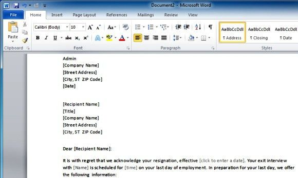 resignation letter format. microsoft word letter of resignation ...