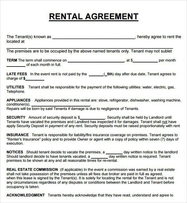 Rental Contract Template Word | Best Template Examples