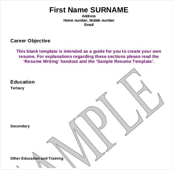 Resume Writing Template. Sample Blank Resume Writing Template Word ...