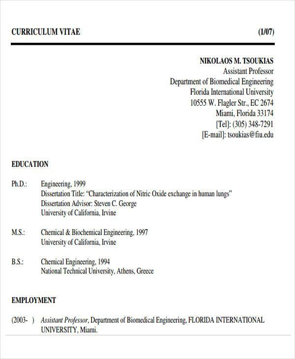 Biomedical Engineer Resume. Personal Statement Examples For ...