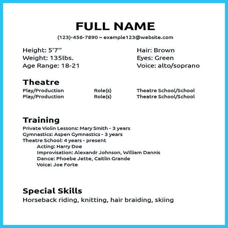 beginners actors resume
