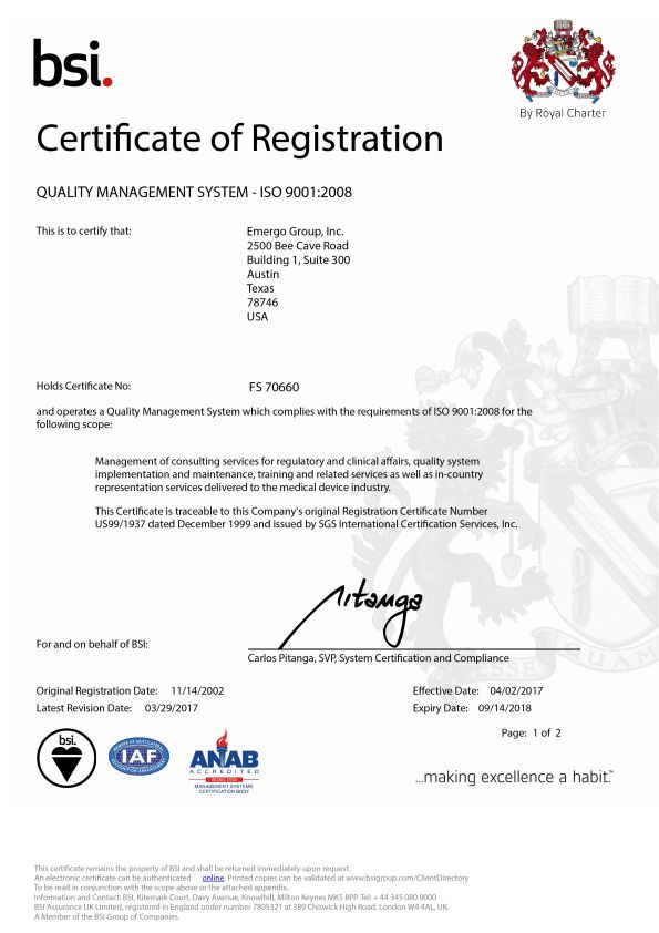 Emergo: QA/RA Consultants with ISO 13485 and ISO 9001 certification