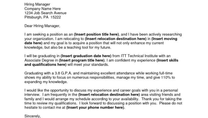 Relocation Cover Letter