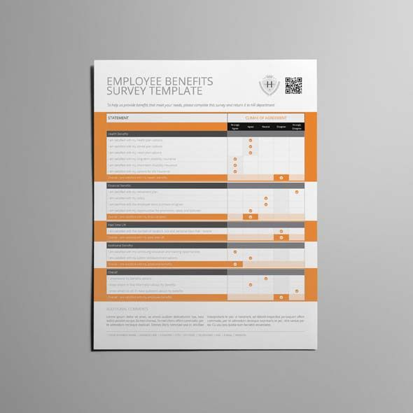 Employee Benefits Survey Form US Letter Template | CMYK & Print ...