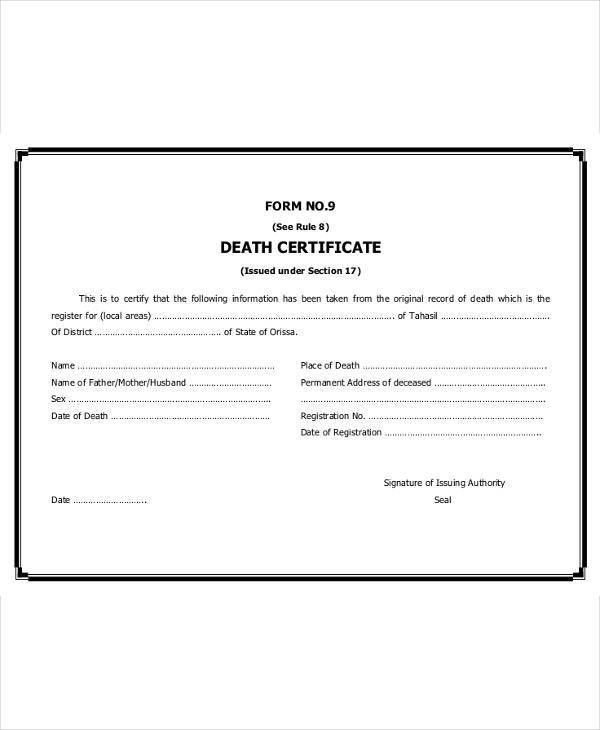 7+ Death Certificate Templates – Free Sample, Example Format ...