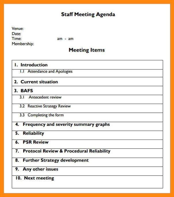Meeting Agenda Sample In Word. Our Author Has Been Published ...